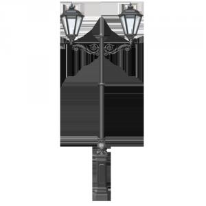 Двухрожковый чугунный парковый фонарь